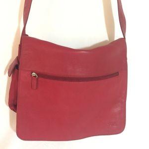 Vintage Fossil Relic Red Leather Messenger Bag